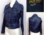 Vintage 1970s Blue Cropped Jean Jacket Style Nylon Jacket Contrast Brown Stitching / Unisex Small / 70s Boot Boy Glam Disco