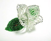 Silver Flower Floral Green Leaf Bloom French Beaded Fascinator - Sparkle Collection