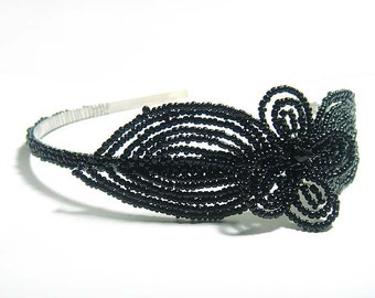 Black Headband Fascinator - French Beaded Alice Hair Band - Pearl Collection HBSCLO