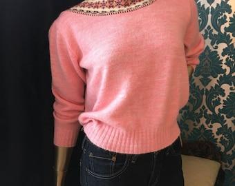 Pink Fair Isle Vintage Sweater Three Quarter Sleeves