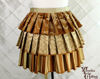 "Ruffle Bustle Overskirt - 3 Layer, Sz. M - Pumpkin and Gold - Fits 27""-62"" -- Ready to Ship"