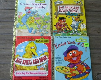 Little Golden Books lot of 4 Sesame Street books 1970s and 1980s