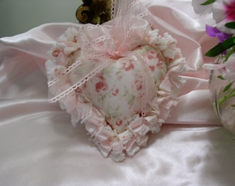 Shabby Cottage Chic Rag Quilt Heart Handmade  from Durham Lecien or Mary Rose Fabric and Vintage Hobnail Chenille on Reverse