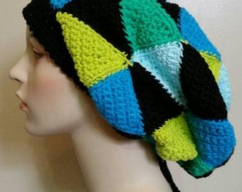 OOAK Cotton Patchwork Slouchy Hat Dreadlock Tam