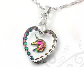 Unicorn Necklace - Rainbow Unicorn Pendant - 15x14mm Engraved Unicorn Heart Charm - Etched Glass with Unicorn Sterling Silver Chain Option