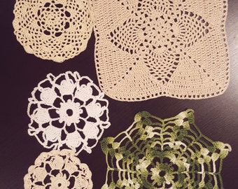 Doilies Handmade In a Variety of Colors and Shapes. Set of Five Display Case