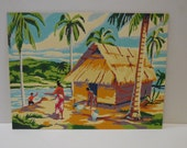Vintage Paint by Number PBN Hut by the Water Sea ocean People Tropical island mountains  12 x 16