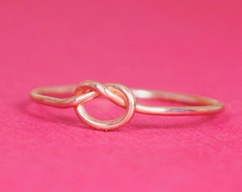 Rose Gold Knot Ring/Size 4.75/Rose Gold Friendship Ring/Thin Rose Gold Ring/Simple Rose Gold Ring/Teeny Weenie Tied Ring*Solid 14k Rose Gold