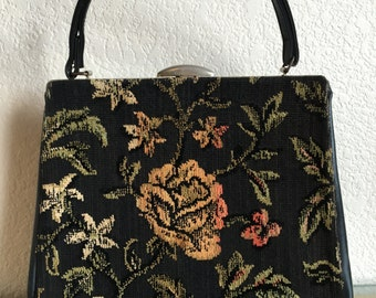 Vintage Tapestry Purse - Floral - 60's - Soft Colors - Mad Men - VLV - Pinup