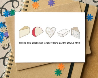 Cheesy Valentine's Card - Funny Valentine's Card - card for foodies - funny valentine - anti-Valentine's card - card for cheese lovers