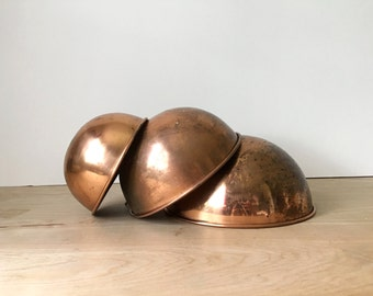 Hanging Vintage Copper Mixing Bowls - Set of 3