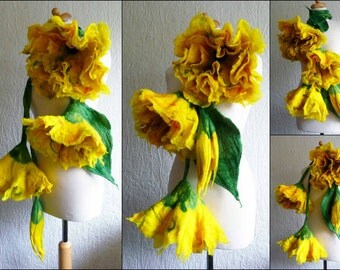 felted wool scarf necklace flower, felt, jewellery, jewelry, art to wear, lariat, bespoke,  MADE TO ORDER lagenlook, orange, yellow, pink