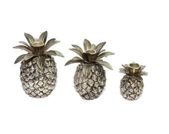 Silver Pineapples 3 Silver Pineapples Small Silver Pineapples Pineapple Home Decor Pineapple Taper Candlesticks
