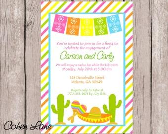 Printable Fiesta Party Invitation. Wedding Shower. Engagement Party Invitation. Mexican Fiesta Invitation. Baby Shower. Birthday Invitation.