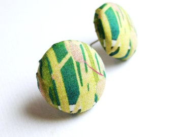 Fabric covered button earrings in dark green, lime green and beige