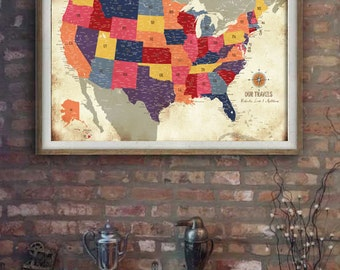 USA Map Vintage style, Gift for Parents, 20X30 Inches, Colorful Vintage, Honeymoon Map, Push Pin Travel, Map Gift for Husband