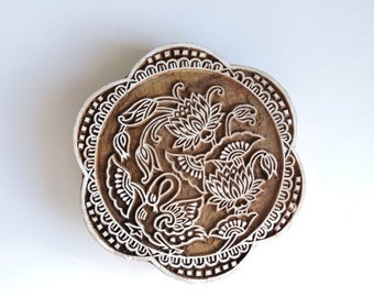 ON SALE Large Flower Stamp: Scalloped Stamp, Hand Carved Wood Stamp, Mandala Indian Printing Block, Lotus Flower, Wooden Craft Textile Stamp