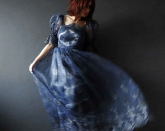Blue Tie Dye Prom Party Evening Dress Boho Wedding Maxi Dress Size XS Repurposed