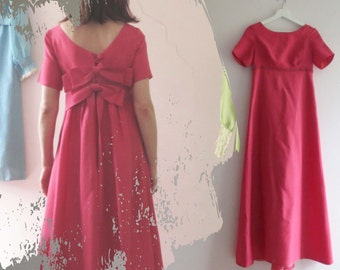 Vintage 60s  Maxi Dress, Magenta Pink Empire Line Mad Men Maxi
