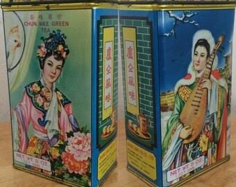 Chun Mee Green Tea Vintage Tin Beautiful Spring Winter Day Night Design