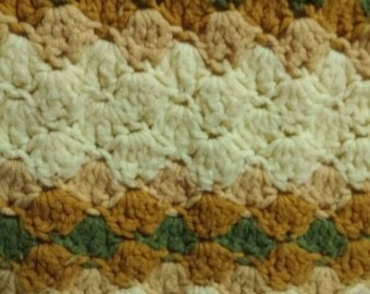 Vintage 70s Decorative Floral Yellow and Green Striped Knit or Crochet Throw. Flower Design