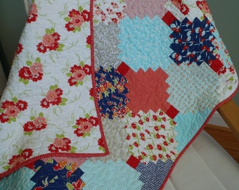 BABY GIRL QUILT - Bonnie and Camille Miss Kate fabrics Fresh Modern Courthouse Steps