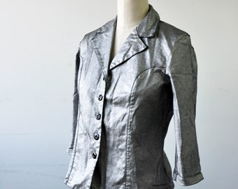 90s Silver Coated Tailored Blazer Jacket - Small/Medium