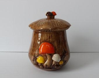 Vintage 1970 Arnel's Mushroom Cookie Jar/Canister