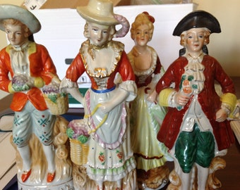 4 Hand Painted Victorian China Figurines Lovely