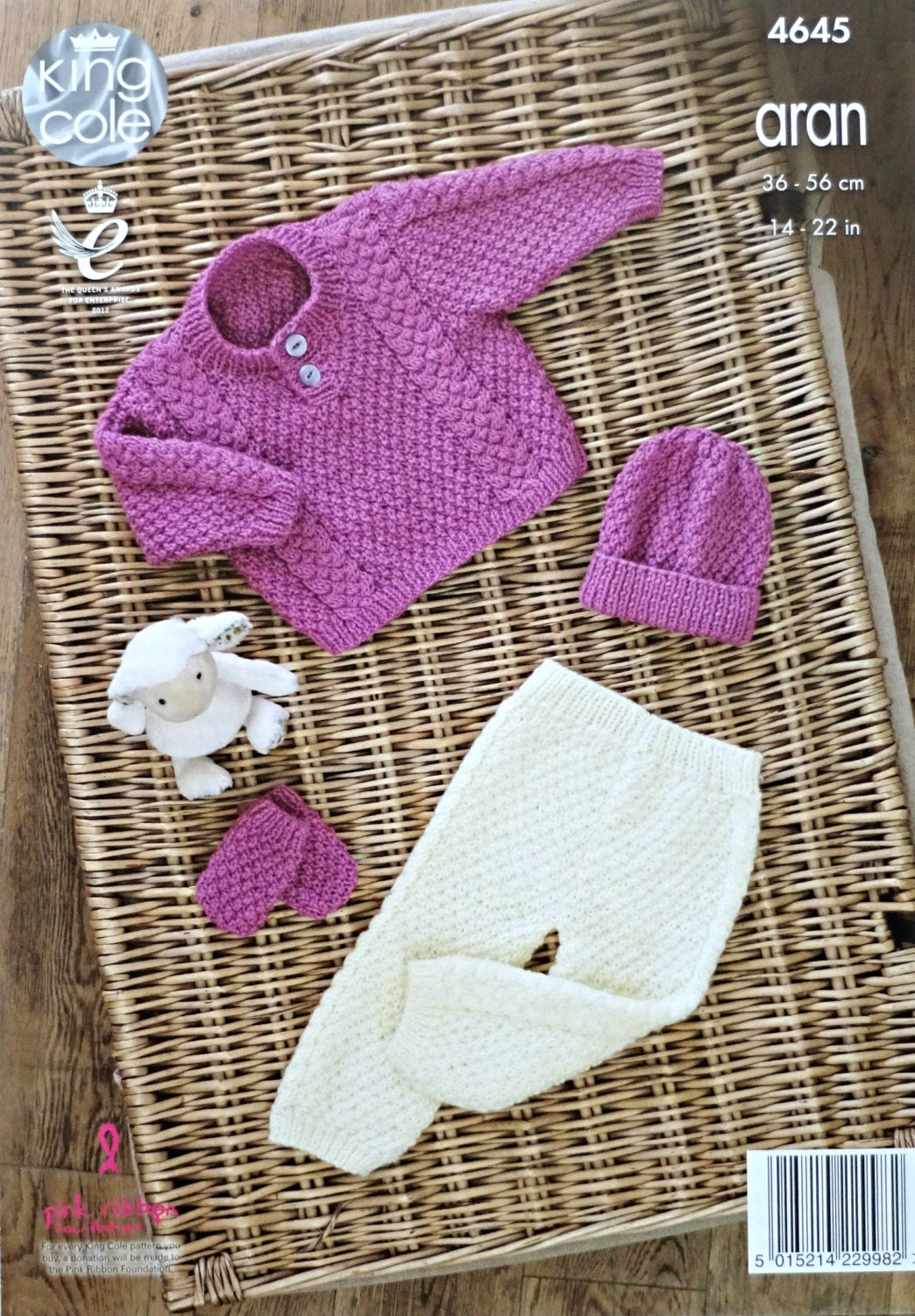 Baby Knitting Pattern K4645 Babies Cable and Moss Stitch Jumper Trousers Mitt...