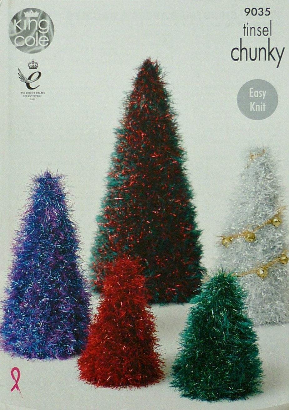 Knitting Lace Christmas Tree Pattern : Christmas Knitting Pattern K9035 Small, Medium & Large Tinsel Christmas T...