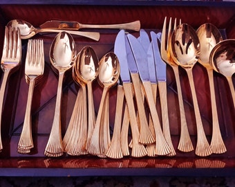 Gold Stainless Flatware The Cellar Japan Dinnerware Setting For 8 Pattern CLF17
