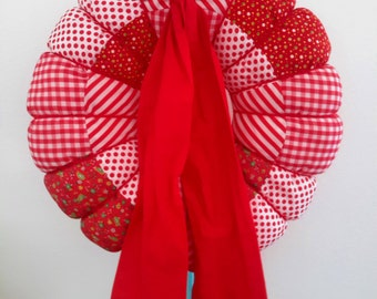 Vintage Red Christmas Wreath Hand Crafted By Norma Hayes Cloth Paisley Striped Polka Dot