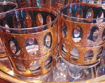 Vintage Culver Pisa Glasses 8 + Ice Bucket Barware Old Fashioned 22K Gold Gorgeous Condition Gift Idea