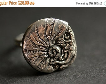 VALENTINE SALE Squid Ring. Pewter Button Ring. Beach Button Ring. Adjustable Ring. Silver RIng. Handmade Ring. Pewter Ring. Nautical Jewelry