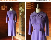 SALE / vintage 1950s dress / 50s violet wool wiggle dress / size small medium