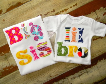 Big Sister with lil bro or lil sis Onesie, includes 2 shirts, Long or Short Sleeved, free shipping… 0-3m to 12 years