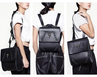 3 in 1 Convertible Black Leather Backpack Shoulder Bag