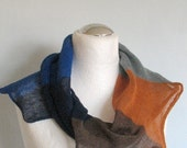 Linen Scarf Light Beige Brown Blue Azure Infinity Scarf Cowl Wrap