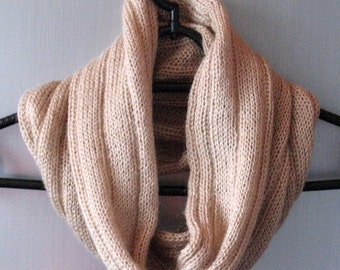 Infinity Scarf Cowl Wrap Beige Brown Striped