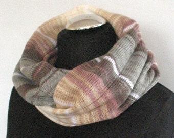 Knit Infinity Scarf Chunky Infinity Scarf Knit scarf Knit Cowl Scarf Neckwarmer Circle Scarf Chunky Scarf Cream Beige Brown Green  Striped