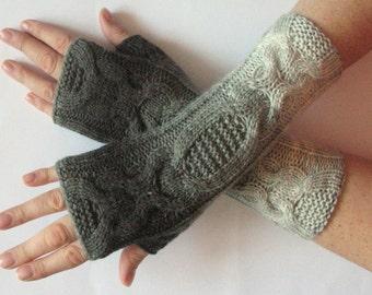 Fingerless Gloves Gray Black Arm Warmers Knit Soft