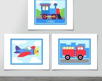 Kids Personalized Trains, Planes & Trucks Unframed Art Prints, Set of 3, Kids Wall Art, Nursery Wall Decor