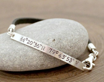Personalized Coordinates Bracelet, Sterling Silver And Leather Cuff, Custom Location Bracelet, Boyfriend Gift, Unisex Design -Quinn Bracelet