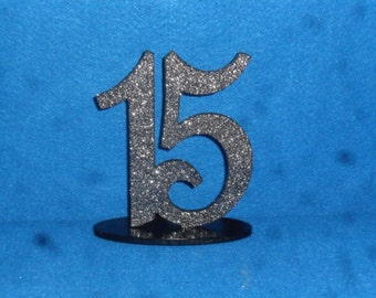 """Glittered Table Numbers - Wooden Table numbers - set 1-25 MDF 4"""" number - 6"""" number - table number - Glitter - Paint - Wedding Table Numbers"""