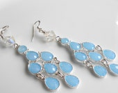 Baby Blue, Clear Swarovski Crystals,Lucite, Bezel Drops, Chandelier Earrings, Gift for Her