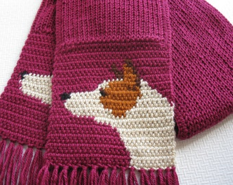 Australian Cattle Dog Scarf.  Red heeler dog scarf. Crochet and knit scarf with red cattle dogs
