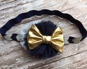 Navy Gold and White Bow Headband Infant/Toddler Headband-Navy and Gold-Infant/Toddler Headband-Photography Prop- Navy Headband