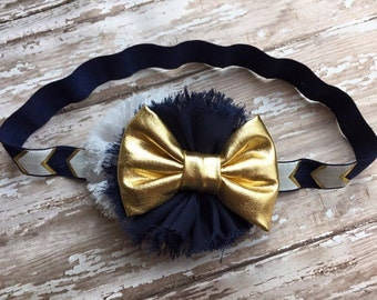 Navy Gold and White Bow Headband Infant/Toddler Headband-Navy and Gold-Infant/Toddler Headband-Photography Prop- Navy Headband
