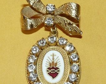 Vintage Enamel SACRED HEART Enamel Medal Brooch-  STUNNING and hard to find